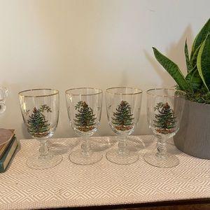Spode Goblets Christmas Tree Gold Rim